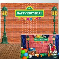 Allenjoy 7x5ft Brick Wall Street Backdrop High Cartoon Photography Backdrops First 1st Girl boy Birthday Party Background Party Decors Decorations Baby Shower Photo Shoot Booth