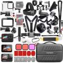 Vamson Accessories Kit for GoPro Hero 9 Black Waterproof Housing Case Filter Silicone Protector Frame Lens Screen Tempered Glass Head Chest Strap Bike Car Mount Floating Bundle Set Kit 64 in 1 AVS18