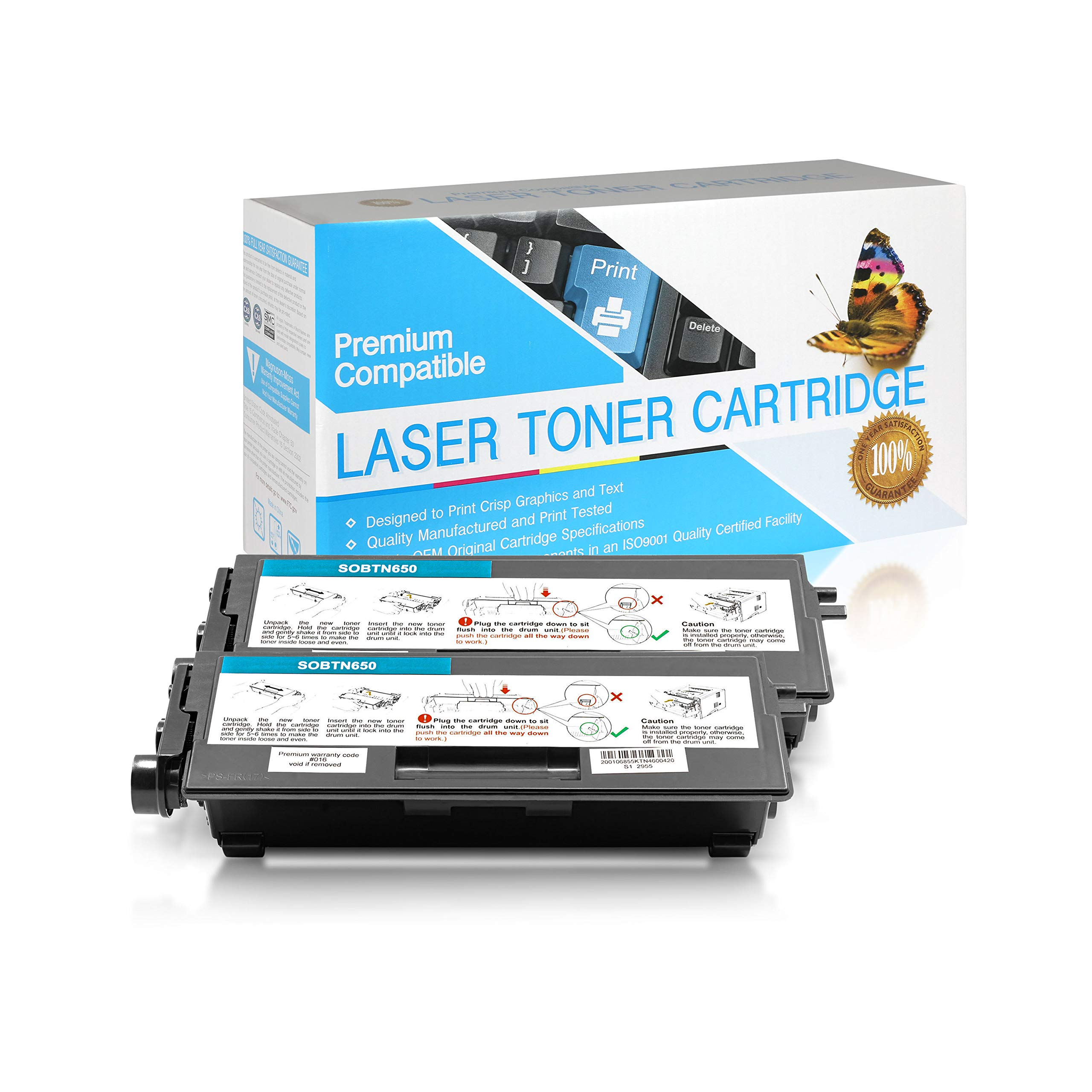 SuppliesOutlet Compatible Toner Cartridge Replacement for Brother TN650 / TN620 / TN-650 / TN-620 (Black,2 Pack)
