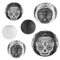Skull Design Day of The Dead Chinese/Japanese Hanging Black/White Paper Lanterns Metal Frame for Spooky Scary Halloween Party, Home Lamps, Haunted House Event Decoration (Set of 6)