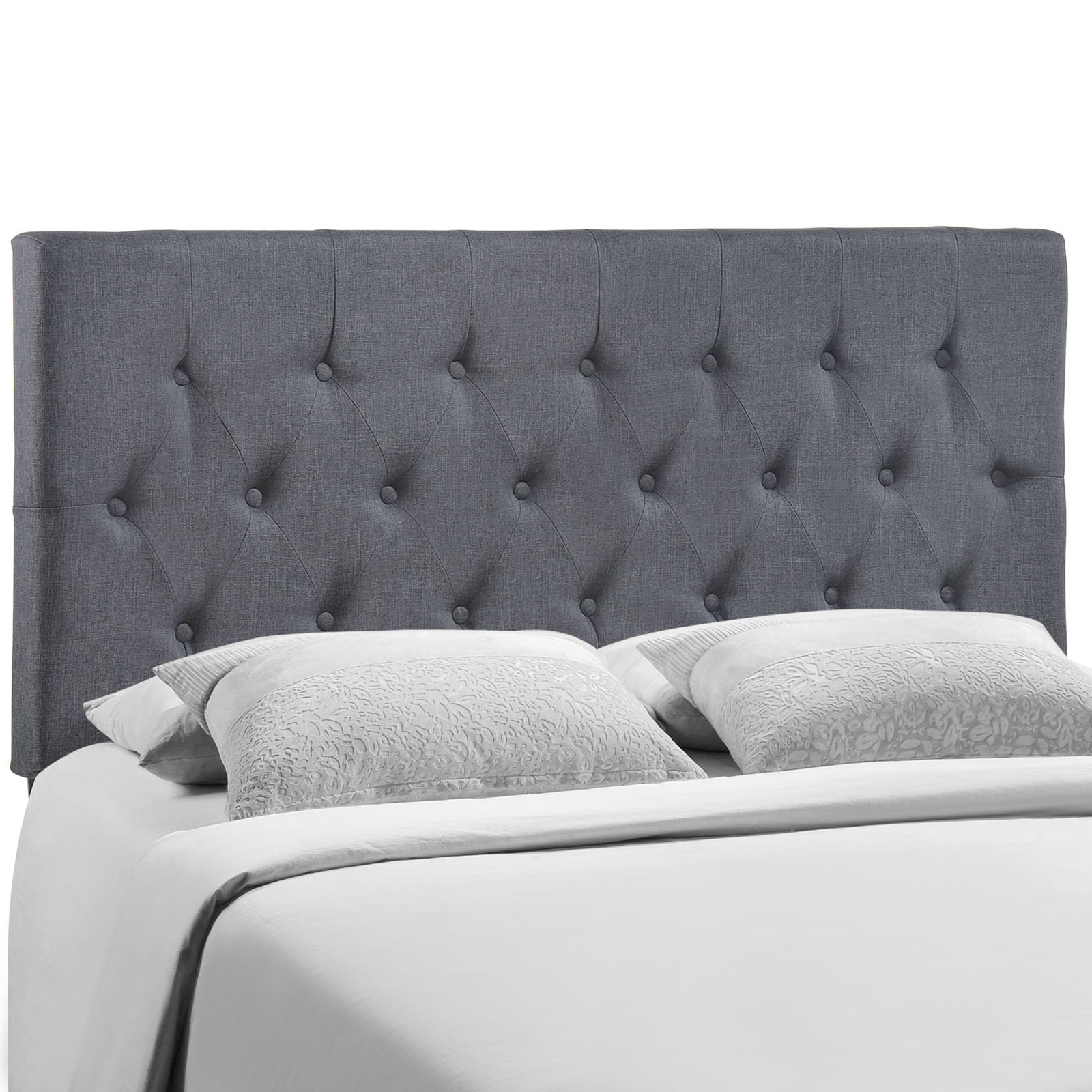 Modway Clique Tufted Button Diamond Pattern Linen Fabric Upholstered Queen Headboard in Smoke