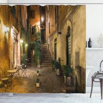 """Ambesonne Italian Shower Curtain, Old Courtyard Rome Italy Cafe Chairs City Historic Houses in Street, Cloth Fabric Bathroom Decor Set with Hooks, 70"""" Long, Orange Brown"""