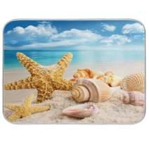 KLL Kitchen Dish Drying Mat Absorbent Water Insulation Mats Dinnerware Protective Pad Medium Beach Starfish Shell 16x18 inch