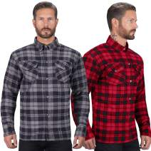 Viking Cycle Motorcycle Flannel Shirt for Biker Men - CE Armor Protection with Multiple Pockets for Storage (Black, Small)