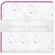 SwaddleDesigns Ultimate Swaddle, X-Large Receiving Blanket, Made in USA, Premium Cotton Flannel, Bright Pink Mama and Baby Chickies (Mom's Choice Award Winner)