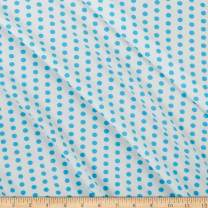 Fabric Polyester Jersey Knit Polka Dot Fabric, Sky Blue, Fabric By The Yard