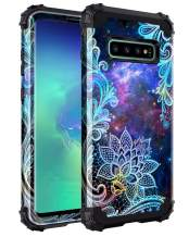 Casetego Compatible Galaxy S10 Plus Case,Floral Three Layer Heavy Duty Hybrid Sturdy Armor Shockproof Full Body Protective Cover Case for Samsung Galaxy S10 Plus,Mandala
