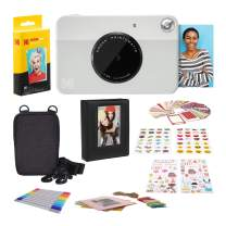 Kodak PRINTOMATIC Digital Instant Print Camera (Grey) with 2ʺx3ʺ Premium Zink Photo Paper (20 Sheets), Soft Camera case, Zink Paper Unique Colorful Stickers & Photo Album Accessories