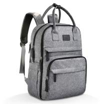 Diaper Bag Backpack, PoplarTrees Multifunction Mom Large Capacity Waterproof Baby Travel Back Pack, Unisex- with Stroller Straps, Gray[Upgraded Version 3.0]