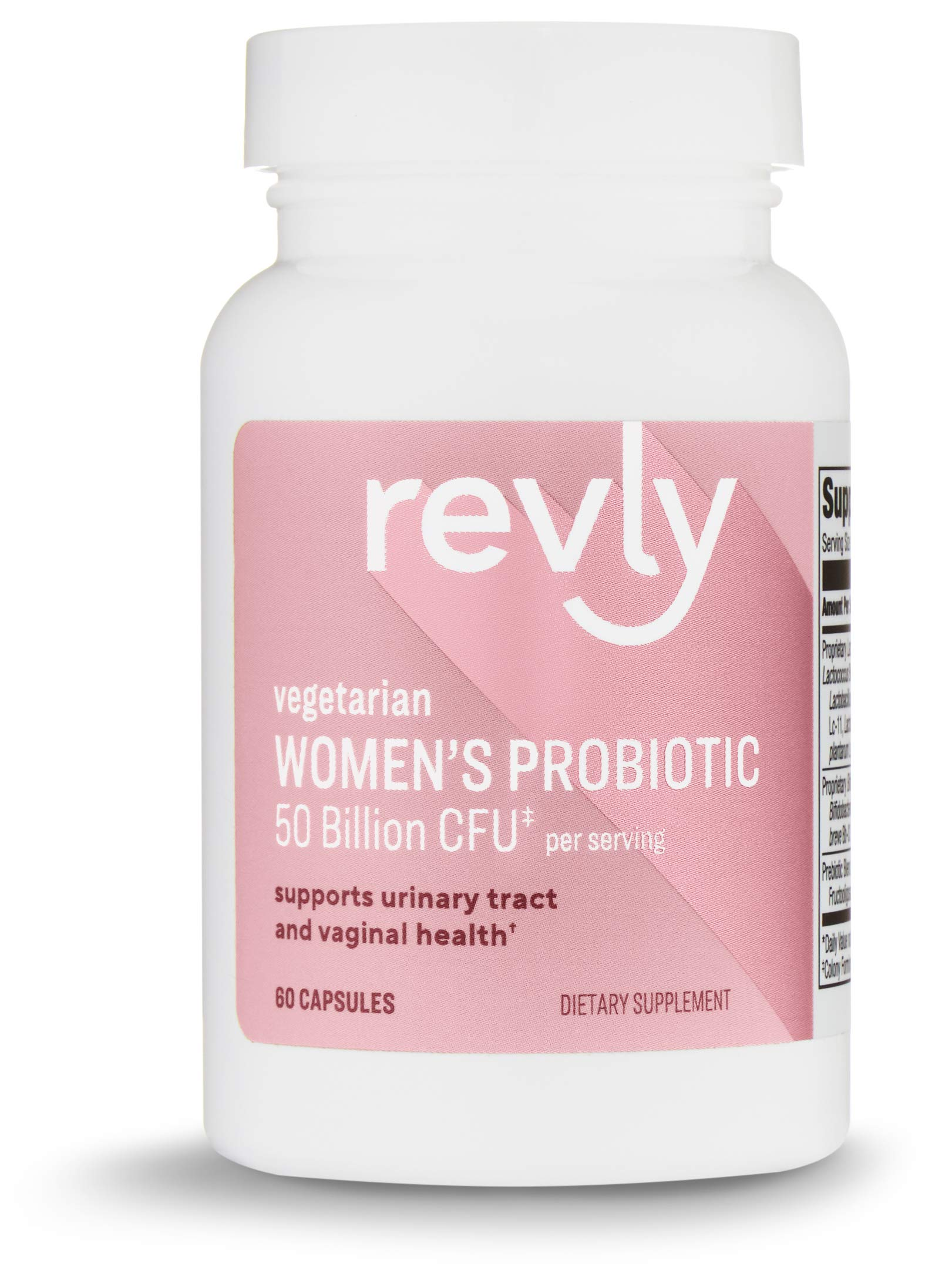 Amazon Brand - Revly One Daily Women's Probiotic, 50 Billion CFU (7 strains), Supports Urinary Track and Vaginal Health, Lactobaccilus and Bifidobacteria blend, 60 Capsules (60 Day Supply)
