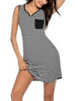 Ekouaer Sleepwear Womens Nightgown Striped Nightshirt Sleeveless Sleep Dress Soft Loungewear