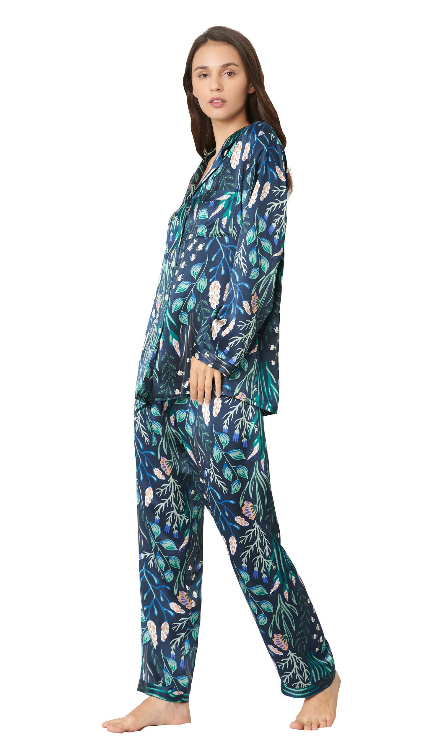 LilySilk Silk Pajamas Set for Women 2 Piece 100 Real Luxury Plant Print Floral Long Silk Pajamas Ladies White Flower with Blue L/12