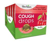 Herbion Naturals Herbal Cough Drops and lozenges with Cherry Flavor 108 Drop Counts | Cough Suppressant | Sore Throat | Pain Relief | (6 Packs of 18 Counts) …
