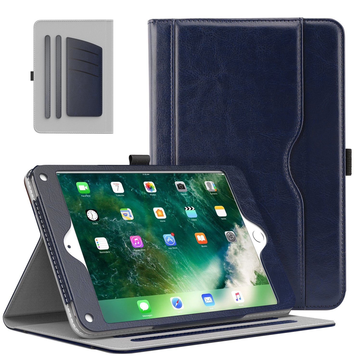 MoKo Case Fit 2018/2017 iPad 9.7 6th/5th Generation/iPad Air/iPad Air 2 Tablet - Slim Folding Stand Folio Cover Case with Document Card Slots, Multiple Viewing Angles, Indigo