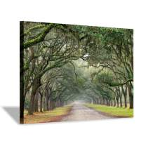 """Green Oak Trees Art Painting: Landscape Artwork Forest Picture Print on Canvas Wall Art for Living Rooms (36""""x24"""")"""