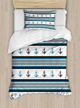 Ambesonne Anchor Duvet Cover Set, Borders with Stripes and Anchor Hipster Design Retro Style Maritime, Decorative 2 Piece Bedding Set with 1 Pillow Sham, Twin Size, Blue Black