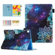 Dteck Case for iPad 10.2 2019 7th Generation - Slim Fit Premium PU Leather Folio Stand Smart Soft Protective Cover with Pencil Holder, Auto Wake/Sleep and Wallet Pocket, Galaxy Flower