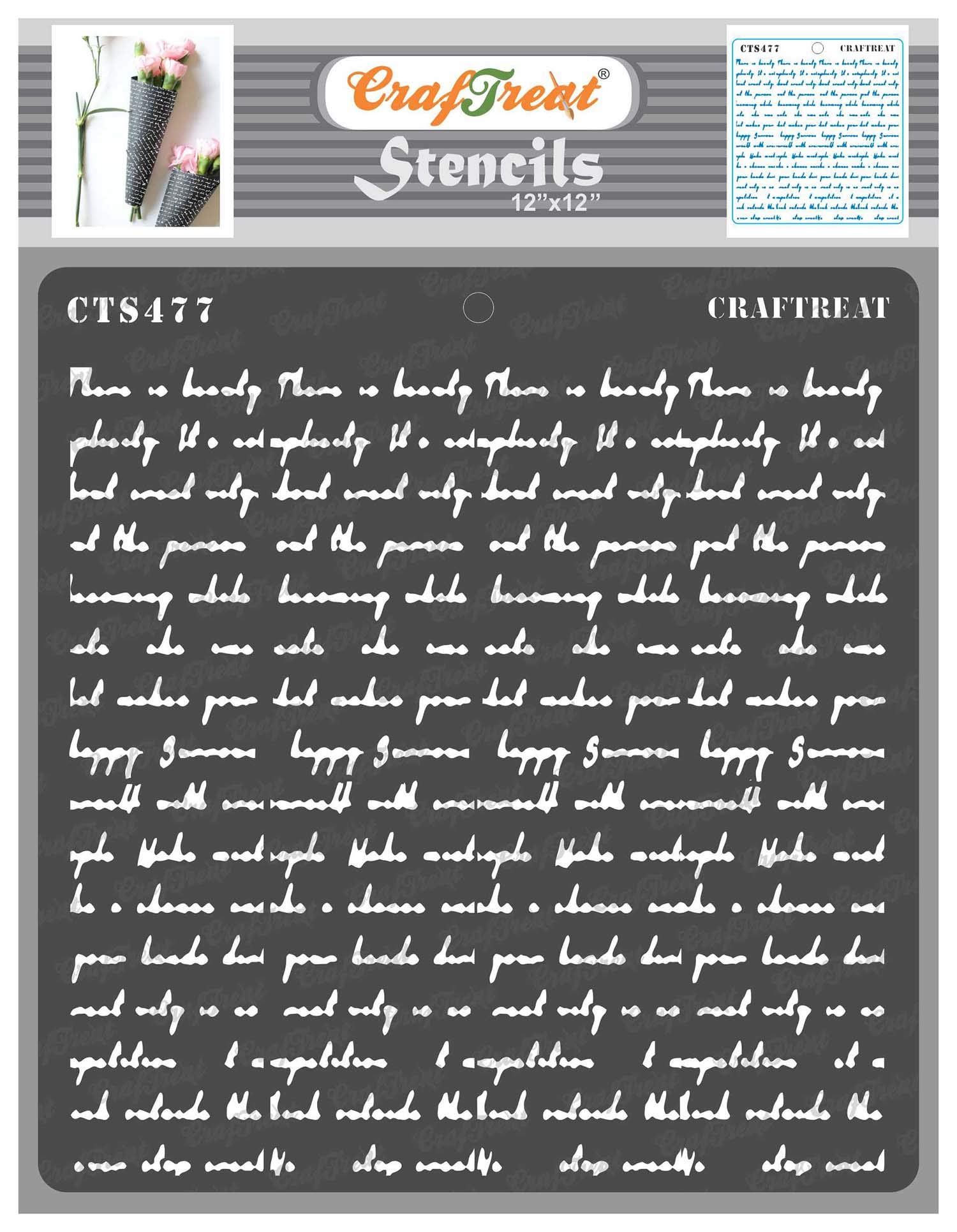 CrafTreat Crafting Script Stencils for Painting on Wood, Wall, Tile, Canvas, Paper and Floor - Script Stencil - 12x12 Inches - Reusable DIY Art and Craft Stencils - Script Letter Stencils