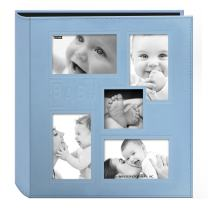 """Pioneer Collage Frame Embossed """"Baby"""" Sewn Leatherette Cover Photo Album, 4""""x6"""", 240 Photos, Baby Blue"""