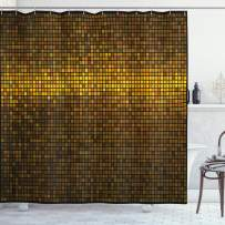 """Ambesonne Abstract Shower Curtain, Disco Theme Pattern Squares Digital Effect Pixel Mosaic Geometric Arrangement, Cloth Fabric Bathroom Decor Set with Hooks, 75"""" Long, Fawn Yellow"""