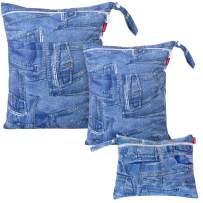 Damero 3pcs Pack Wet Dry Bag for Cloth Diapers Daycare Organizer Bag, Denim