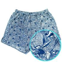 ROCK ATOLL Men's Blue Koi Fish All Over Print Soft Cotton Boxer Short Underwear