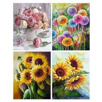 S SNUOY Full Drill Round Diamond Painting Flower 30x40cm 5D DIY Crystal Rhinestone Embroidery Art Crafts for Home Decor Gifts Pack of 4