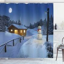 "Ambesonne Christmas Shower Curtain, Wooden Rustic Log Cottage Scenery in The Winter Season Warm Moonlight Spirit, Cloth Fabric Bathroom Decor Set with Hooks, 70"" Long, White Blue"