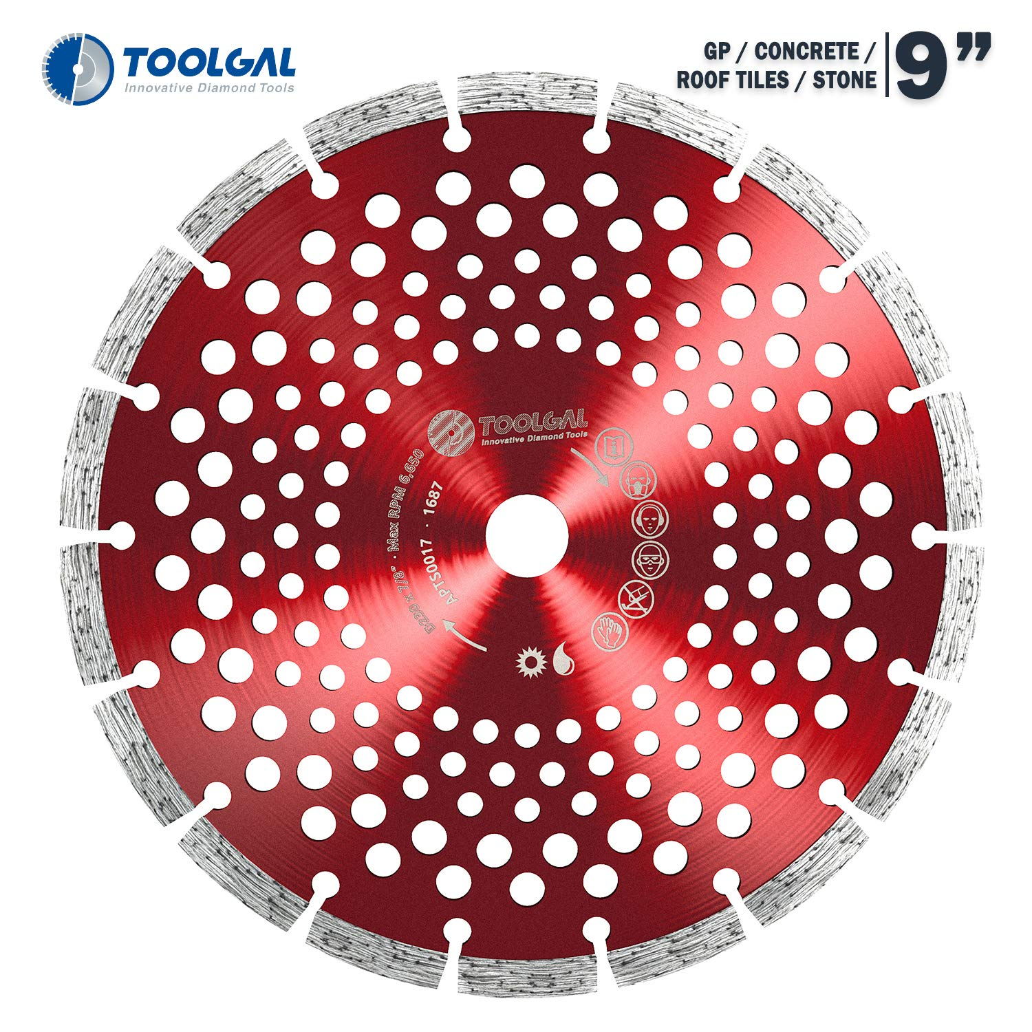 """TOOLGAL Diamond Blade 9"""" for Masonry - Wet and Dry Cutting of Concrete/Tiles/Stone - ⅞"""" Arbor fit to Angle Grinders, Circular Saws, Masonry Saws, Tilesaw and Cutoff Cutters"""