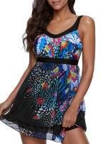ReachMe Womens 2 Piece Swimsuits Tankini Top Set with Boy Shorts Slimming Swimdress Swimwear