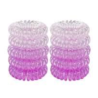URBEST Hair Coils, Tie Hair, Spiral Hair Ties,Phone Cord Hair Ties, Elastics Hair Tie, No Crease Hair Ties, Coil Ponytail Holder(Purple)