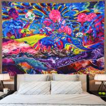 Psychedelic Mountain Tapestry Trippy Mushroom Tapestry Colorful Abstract Tapestry Hippie Art Tapestry Fantasy Bohemian Wall Hanging Tapestry for Bedroom Dorm