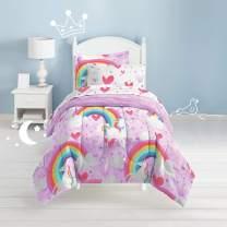 dream FACTORY Unicorn Rainbow Ultra Soft Microfiber Kids Comforter Set Twin, Purple