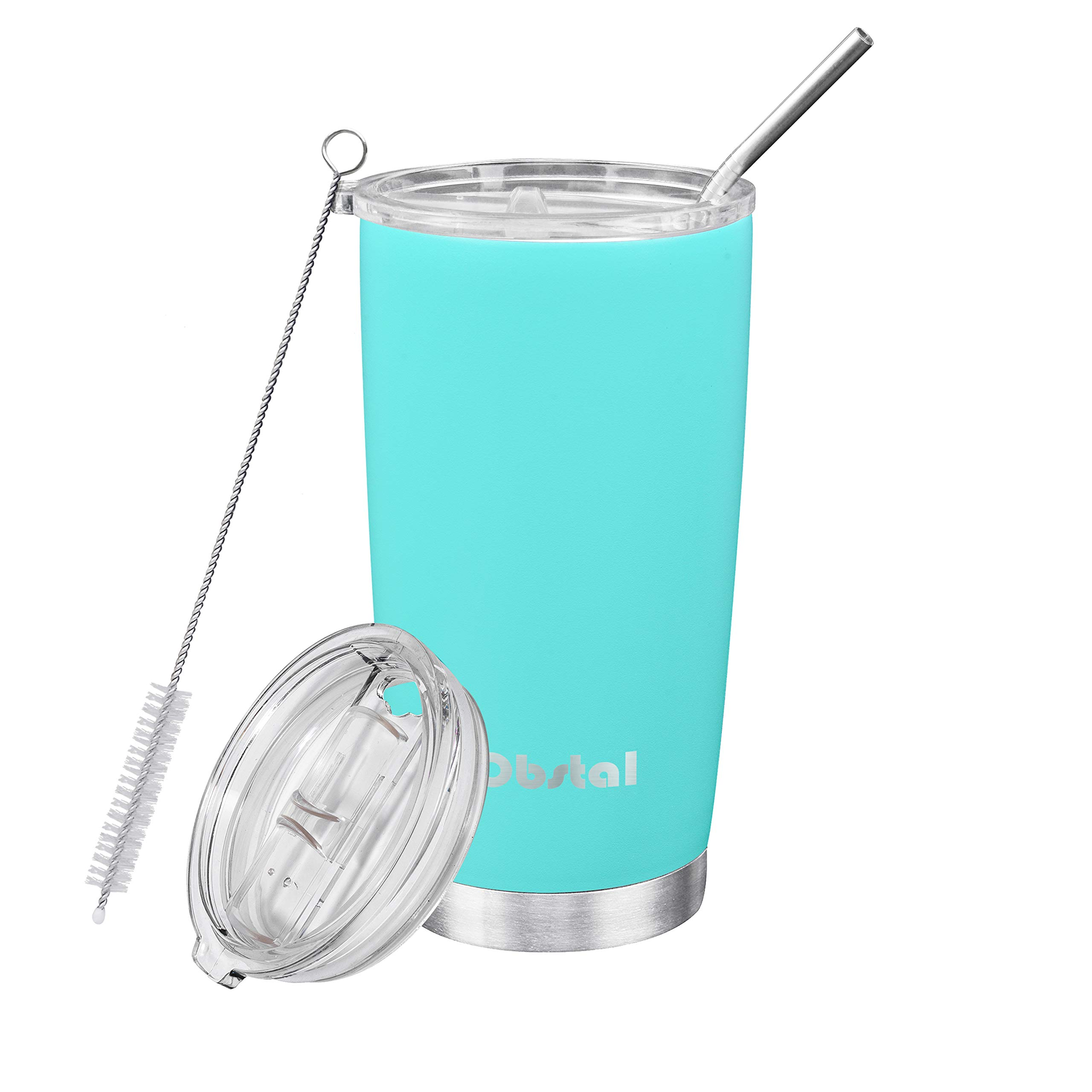 Obstal 20 oz Stainless Steel Tumbler for Coffee - Double Wall Vacuum Insulated Tumblers with Straw, 2 Lids and Cleaning Brush, Aqua Blue, Powder Coated