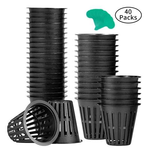 50 Pack Net Pots Heavy Duty Net Cups with 50 Pcs Plant Labels Affenlaskan 3 Inch Net Pots