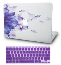 "KECC Laptop Case for MacBook Air 13"" w/Keyboard Cover Plastic Hard Shell Case A1466/A1369 2 in 1 Bundle (Purple Flower)"