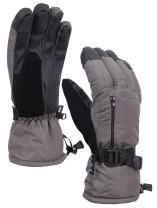 Verabella Men Snow Gloves Waterproof Touchscreen Winter Ski Gloves, Black, L