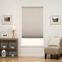 DEZ Furnishings QDLG430720 Cordless Light Filtering Pleated Shade, 43W x 72L Inches, Silver Gray