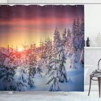 """Ambesonne Winter Shower Curtain, Snowy Landscape at Gloomy Sunrise Scenery in Mountain Forest Serene Nature Photo, Cloth Fabric Bathroom Decor Set with Hooks, 75"""" Long, White Red"""