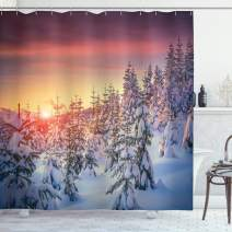 "Ambesonne Winter Shower Curtain, Snowy Landscape at Gloomy Sunrise Scenery in Mountain Forest Serene Nature Photo, Cloth Fabric Bathroom Decor Set with Hooks, 75"" Long, White Red"