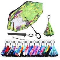 Monstleo Inverted Umbrella,Double Layer Reverse Umbrella for Car and Outdoor Use by, Windproof UV Protection Big Straight Umbrella with C-Shaped Handle and Carrying Bag (Green Grass)