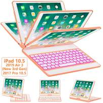 iPad Pro 10.5 Keyboard Case 2017/ iPad Air 3 Case with Keyboard 10.5 2019-360 Rotate 7 Color Backlit Wireless Keyboard with Smart Folio Hard Back Cover, Ultra Slim, Auto Sleep/Wake, Papaya