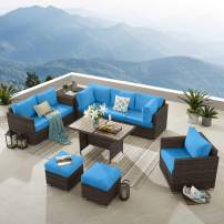Tribesigns 10 Pieces Patio Furniture Set with Dining Table & Storage Side Table, Modern Large Outdoor Sectional Sofa, Wicker Rattan Couch Conversation Set for Garden, Lawn, Backyard, BN-Blue