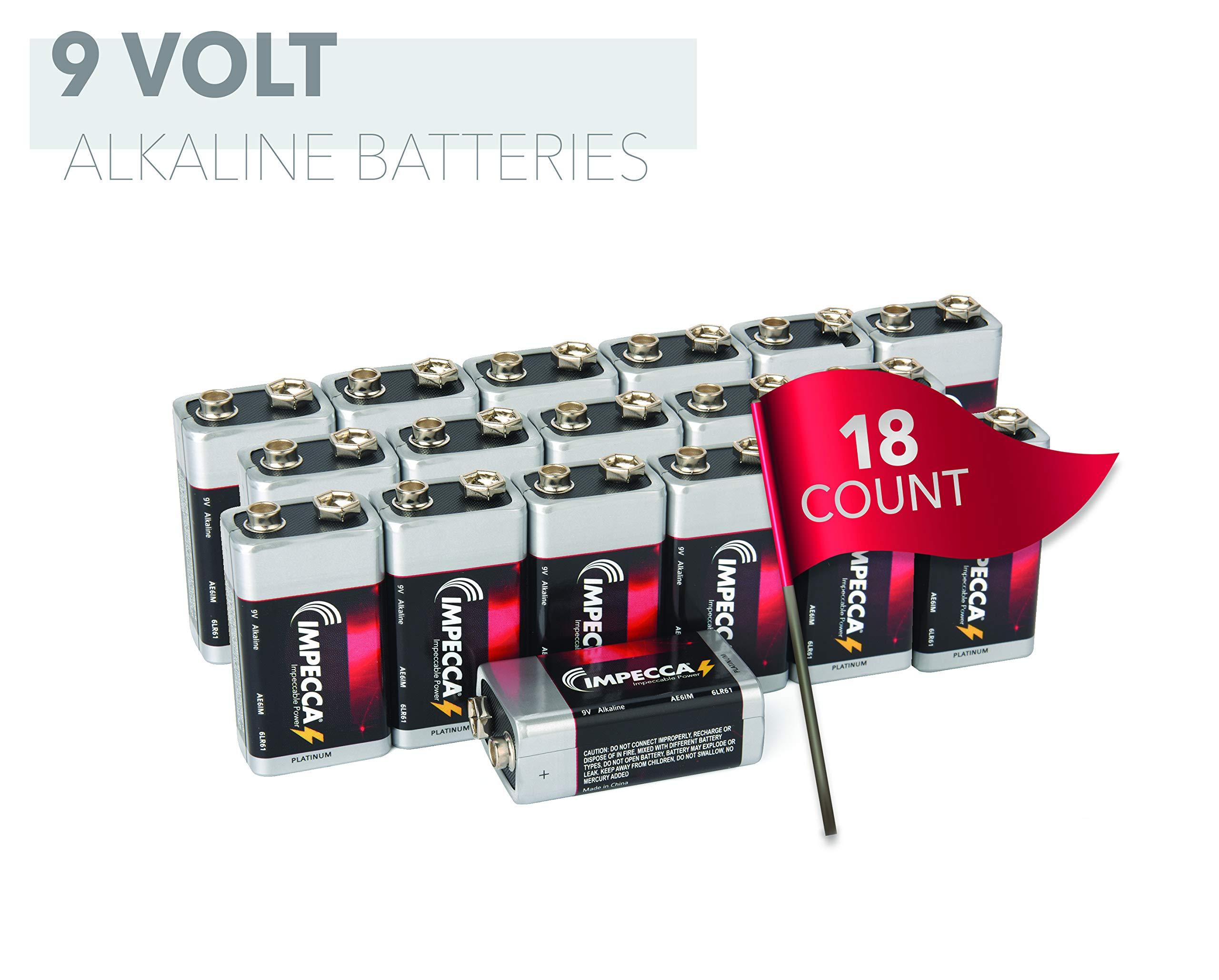 IMPECCA 9 Volt Batteries 18 Count High Performance 9V Alkaline Batteries Long Lasting in Storage 6LR61 18 Pack