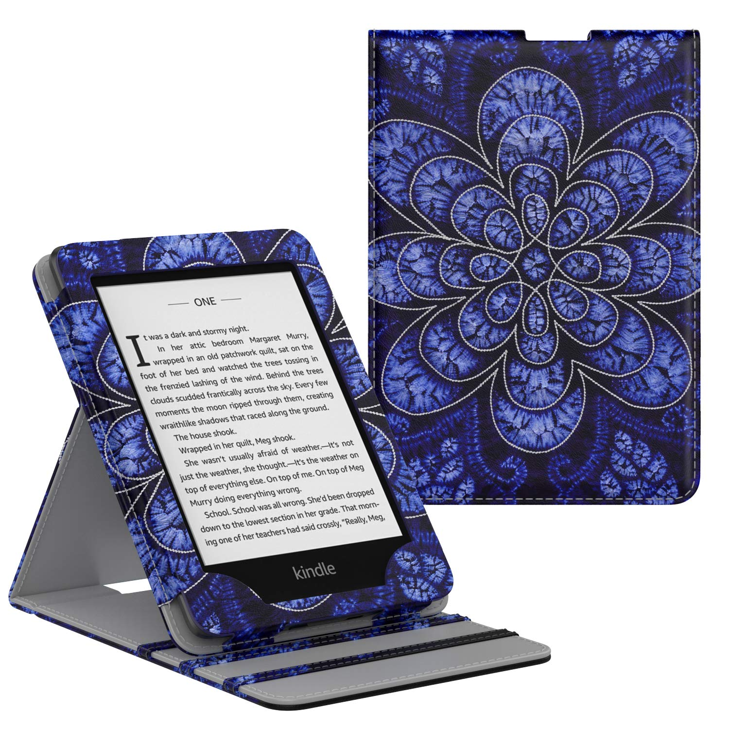 MoKo Case Fits Kindle Paperwhite (10th Generation, 2018 Releases), Premium Vertical Flip Cover with Auto Wake/Sleep Compatible for Amazon Kindle Paperwhite 2018 E-Reader - Rattan Flower Blossom