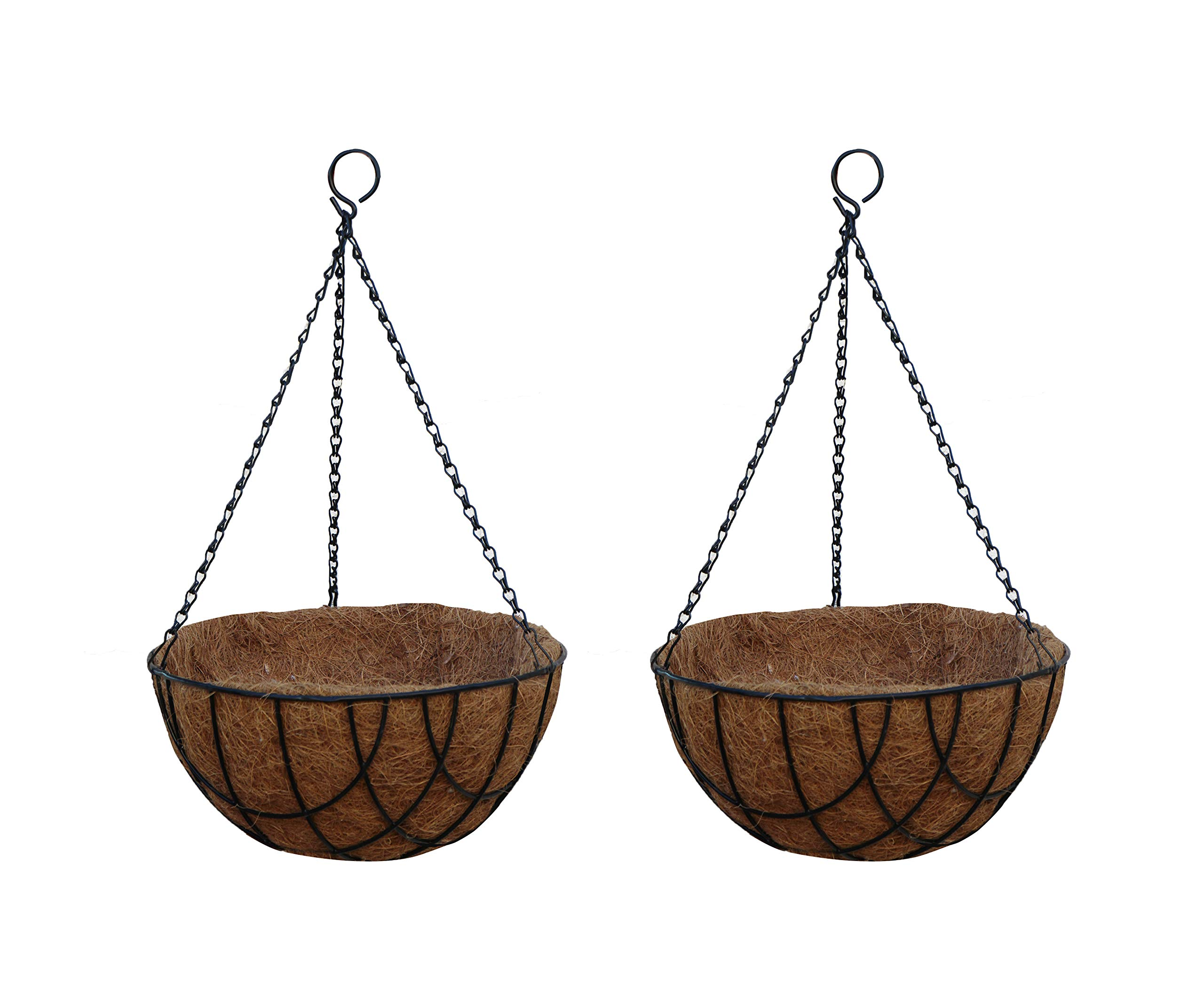 TABOR TOOLS MT2100A 2-Pack Metal Hanging Planter Basket with Natural Coconut Coir Liner, Chain and Hook Included (Wire 10'', Black)