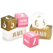 SAY HO UM Premium Baby Girl Monthly Milestone Age Photo Blocks | Gift Box | Wooden Double Set for Week, Month, Year, Pictures + Quotes | Baby Shower and Newborn Gift, Infant Photo Sharing Prop