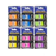 """BAZIC 30 Ct. 1"""" x 1.7"""" Neon Color Standard Flags w/Dispenser, 6-Pack"""