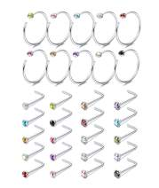 Thunaraz 20-30Pcs Surgical Steel L Shaped Hoop Fake Nose Ring Stud 20G CZ Nose Piercing Jewelry