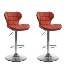 CorLiving Adjustable Bar Stool in Red Bonded Leather , set of 2